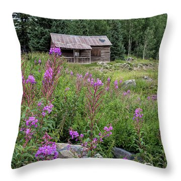 Shack With Fireweed Throw Pillow