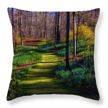 Shaded Spring Stroll Throw Pillow