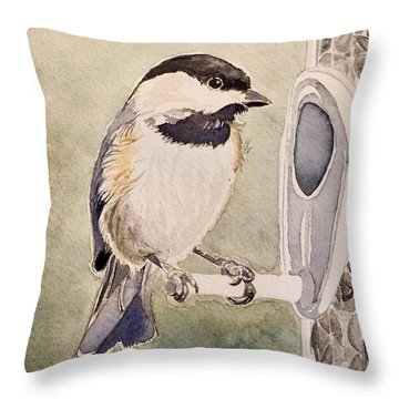 Shades Of Black Capped Chickadee Throw Pillow