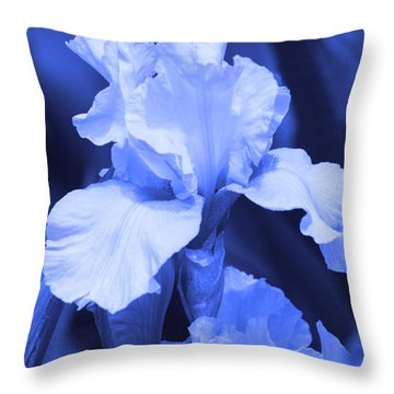 Shades Of Blue Iris  Throw Pillow by Cathy  Beharriell
