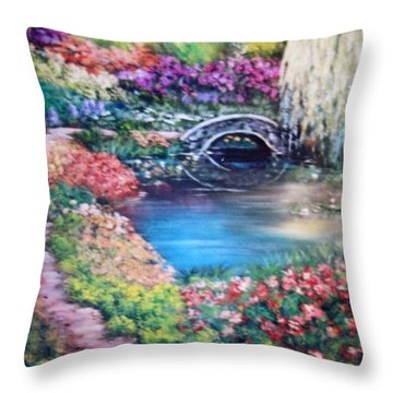 Shades Of Giverny Throw Pillow