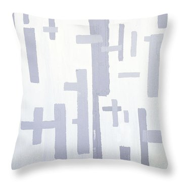 Throw Pillow featuring the painting Shades Of Gray by Karen Nicholson