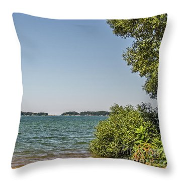 Throw Pillow featuring the photograph Shades Of Green And Blue by Sue Smith