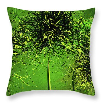 Throw Pillow featuring the painting Shades Of Green - Green Modern Art by Lourry Legarde