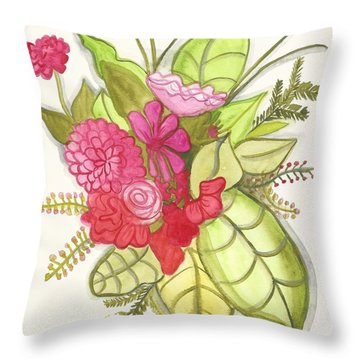 Shades Of Red Bouquet Throw Pillow