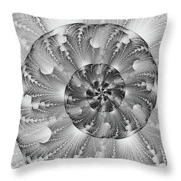 Shades Of Silver Throw Pillow by Lea Wiggins