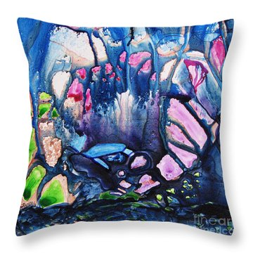 Throw Pillow featuring the painting Shades Of Tiffany by Joan Hartenstein