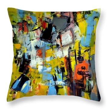 Throw Pillow featuring the painting Shades Of Yellow by Katie Black