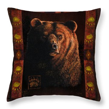 Shadow Grizzly Throw Pillow