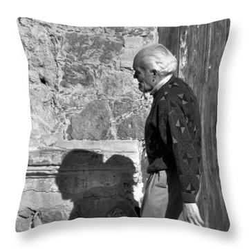 Throw Pillow featuring the photograph Shadow Of A Man by Jim Walls PhotoArtist