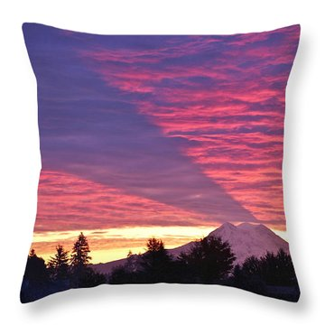 Shadow Of Mount Rainier Throw Pillow