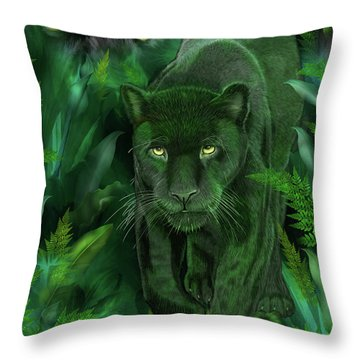 Throw Pillow featuring the mixed media Shadow Of The Panther by Carol Cavalaris