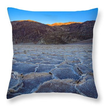 Shadows Fall Over Badwater Throw Pillow