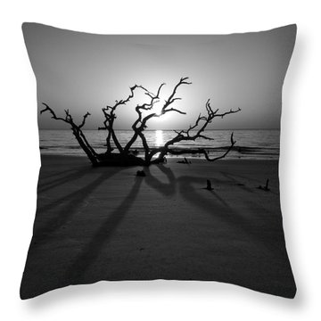 Shadows Of Driftwood In Black And White Throw Pillow