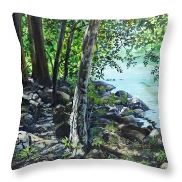 Shadows On The Bank Throw Pillow