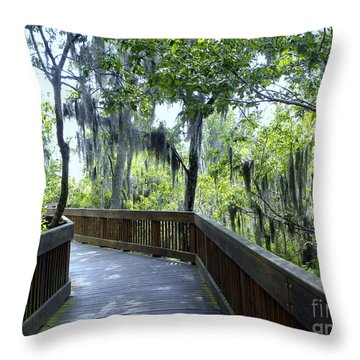 Shady Boardwalk Throw Pillow
