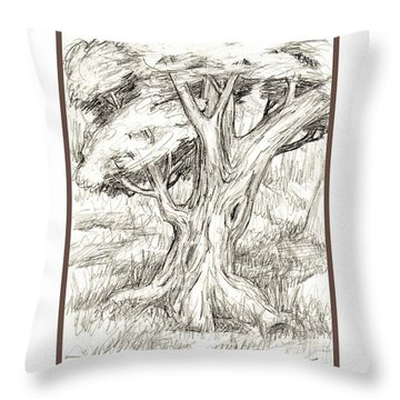 Shady Tree Throw Pillow by Ruth Renshaw