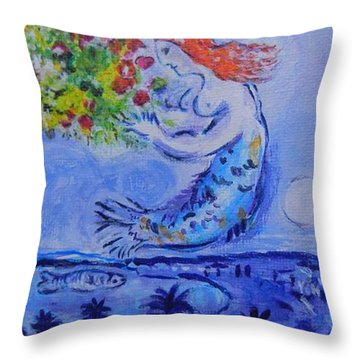 Throw Pillow featuring the painting Chagall's Mermaid by Diana Bursztein