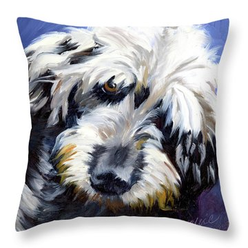 Shaggy Dog Portrait Throw Pillow