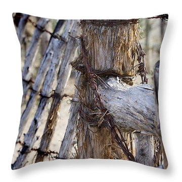 Throw Pillow featuring the photograph Shaggy Fence Post by Phyllis Denton