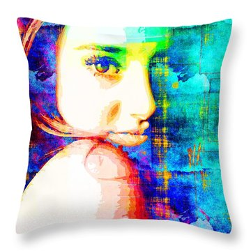 Shailene Woodley Throw Pillow by Svelby Art