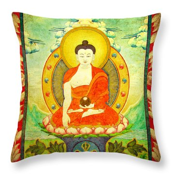 Shakyamuni Buddha Thangka Throw Pillow