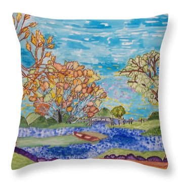 Throw Pillow featuring the painting Shall We Go For A Summer Walk by Connie Valasco