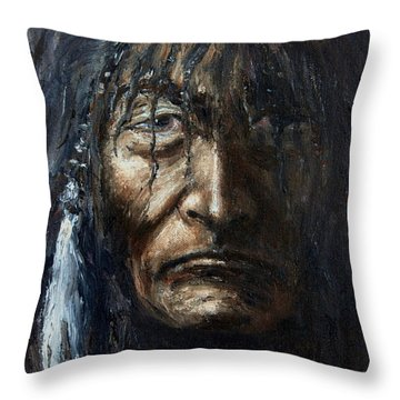 Throw Pillow featuring the painting Shaman by Arturas Slapsys