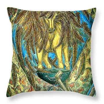 Shaman Spirit Throw Pillow by Kim Jones