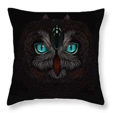 Shaman Spirit Owl Throw Pillow