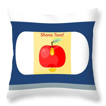 Shana Tova On Blue Throw Pillow