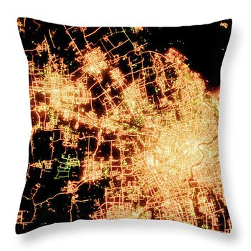 Shanghai From Space Throw Pillow by Delphimages Photo Creations