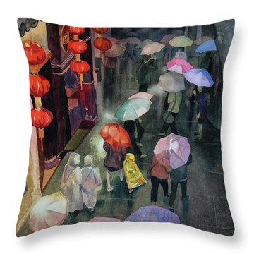 Throw Pillow featuring the painting Shanghai Shoppers by Kris Parins