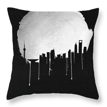Shanghai Skyline Black Throw Pillow