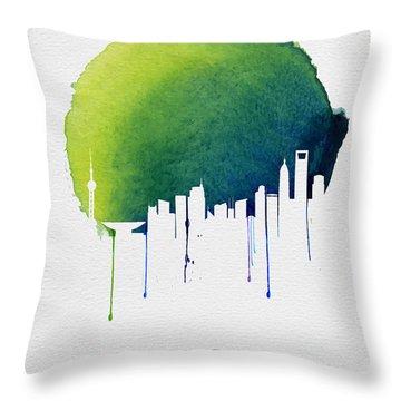 Shanghai Skyline Blue Throw Pillow