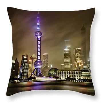 Throw Pillow featuring the photograph Shanghai Skyline by Chris Cousins