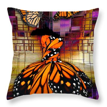 Throw Pillow featuring the mixed media Shape Shifting by Marvin Blaine