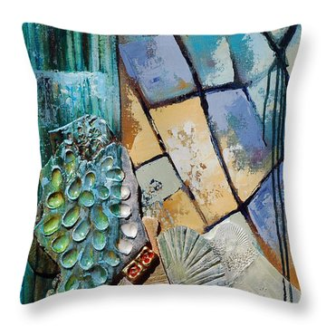 Throw Pillow featuring the painting Shards Water Clay And Fire by Suzanne McKee
