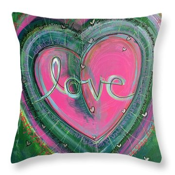 Throw Pillow featuring the painting Share My Love Heart by Laurie Maves ART