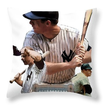 Shared Legacy Mickey Mantle Throw Pillow by Iconic Images Art Gallery David Pucciarelli