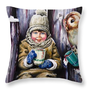Sharing A Hot Chocolate Throw Pillow by Geni Gorani