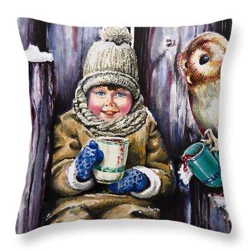 Sharing A Hot Chocolate Throw Pillow