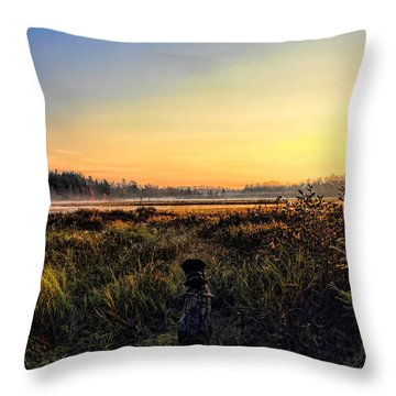 Sharing A September Sunrise With A Retriever Throw Pillow