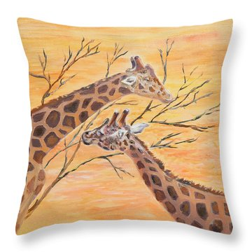 Throw Pillow featuring the painting Sharing by Elizabeth Lock
