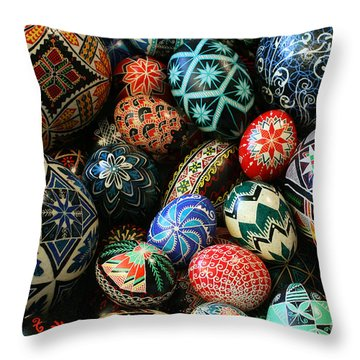 Shari's Ukrainian Eggs Throw Pillow by E B Schmidt