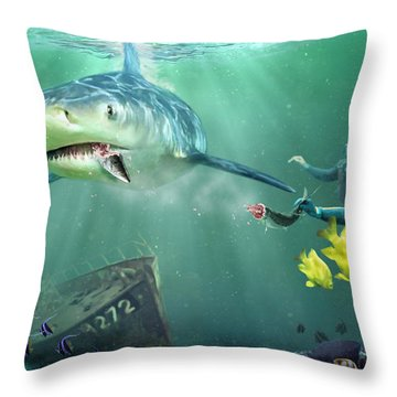 Shark Bait Throw Pillow