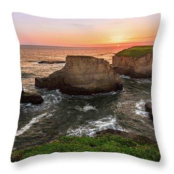 Shark Fin Cove Sunset Throw Pillow