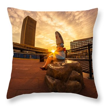 Shark Girl Dawn - Square Throw Pillow