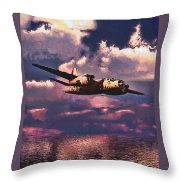 Throw Pillow featuring the painting Shark On The Prowl by Dave Luebbert