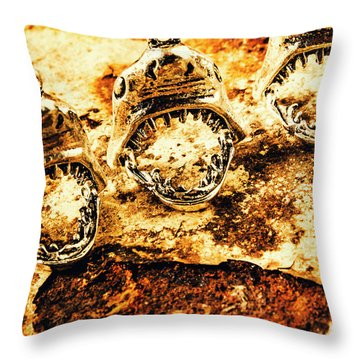 Shark Pendants On Rusty Marine Background Throw Pillow